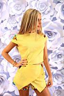 Костюм женский Летний льняной с шортиками цвет жёлтый
