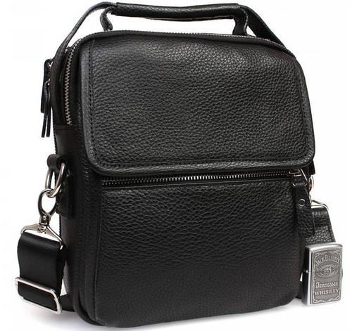 Функциональный кожаный мессенджер с ручкой и плечевым ремнем, черный Alvi av-6-0105