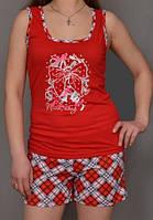 Пижама женская красная комплект домашней одежды хлопковая майка и шортики (100% хлопок) Украина
