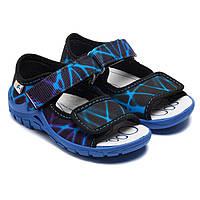 Сандалии текстильные для мальчика, сине - голубые, размер 23-30
