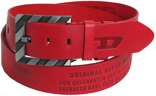 Мужской кожаный ремень под джинсы Skipper 3672-1 Diesel красный  ДхШ: 126х4,5 см.