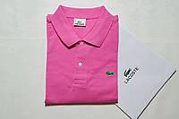 Футболка поло мужская Polo Lacoste (Поло Лакост) розовая - оригинальная