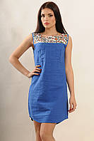 Легкое летнее платье из натурального льна синее