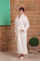 Махровый женский халат с вышивкой ADA кремовый