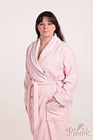 Махровый женский халат с вышивкой ADA розовый