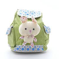 Молодежный качественный рюкзак с большим зайчиком 8271 зеленого цвета