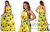Длинное цветочное платье в больших размерах из штапеля (в расцветках) i-1515583