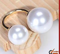 Изящное кольцо для женщин, украшенное большими жемчужинами, ювелирное изделие, цвет - белый