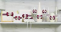 Свадебный набор аксессуаров для свадьбы в марсаловом цвете