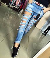 """Модные, женские джинсы - рванки, укороченные, ярко - голубые """"Брендовые"""""""