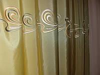 Шторы  Тафта с горизонтальным рисунком оливка