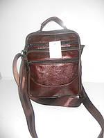 Кожаная мужская сумка барсетка коричневая длинная и короткая ручка недорого 7 км оптом Г1584/01576