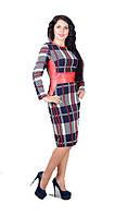 Платье женское с отделкой из эко-кожи полу батал, фото 1
