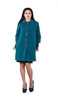 Пальто женское на пуговицах батал короткий рукав+ перчатки, фото 1