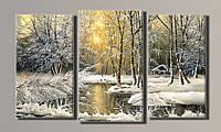 "Модульная картина на холсте из 3-х частей ""Живопись. Зима"""