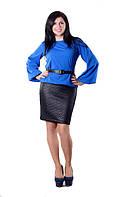 Платье женское с поясом полу батал, фото 1