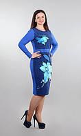 Платье женское  с принтом цветка полу батал