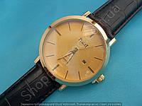 Часы Piaget 114038 золотистые мужские на черном ремешке из кожзама циферблат золотистый с календарем
