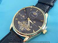 Часы Vacheron Constantin 114041 мужские золотистые на черном циферблате с календарем ремешок из кожзама