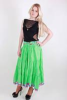 Яркая салатовая женская летняя юбка