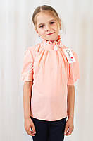 Красивая нарядная шифоновая блуза для девочки с коротким рукавом