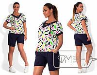 Женский летний костюм (шорты и футболка) большого размера b-1515558