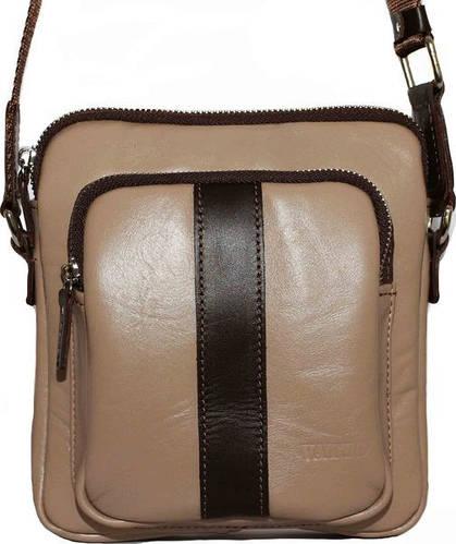 Интересная мужская сумка на плечо из натуральной кожи VATTO Mk-48 N1Kaz400 бежевая с коричневым