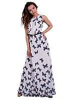 Длинное летнее платье шифон в бабочки размеры 44 46 48