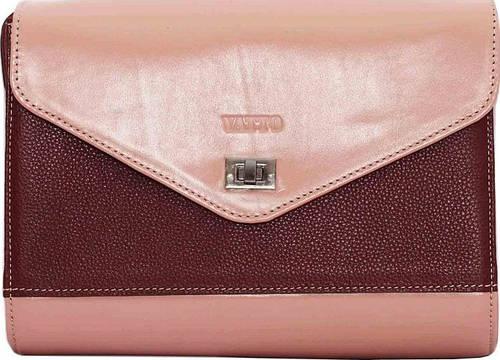 Изящная женская сумка из натуральной кожи цвета пудры и бордо VATTO Wk4 Fl4N6