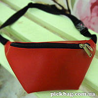 Кожаная сумка на пояс - Красная
