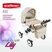 Кукольная коляска LILY TM Adbor 302 (К10, кремовый, горошек на кремовом)