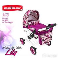 Кукольная коляска LILY TM Adbor 302 (К13, малиновый, цветы на кремовом)