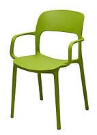 Стул Флекси пластик зеленый с подлокотниками  (Domini TM)