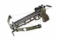 Арбалет пистолетного типа блочный, металлический корпус, складные дуги, предохранитель, 2 типа снарядов