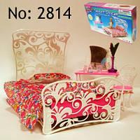 Мебель игрушечная для спальни,кровать,туалетный столик,стул,в коробке