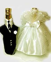 """Украшение на шампанское горох """"Жених и невеста """"шампань"""