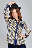 Женская стильная рубашка в клетку из хлопка.