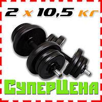 Гантели наборные 10,5 кг пара (21 кг) битумные разборные недорогие Киев (гантелі наборні розбірні)