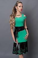 Красивое платье вставка из кожи бирюзовое