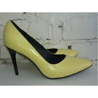 Женские туфли желтого цвета натуральная кожа