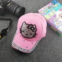 Розовая кепка Hello kitty с камнями