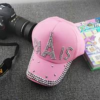 Розовая кепка Paris с камнями
