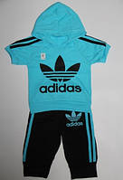 """Летний спортивный детский костюм """"Adidas"""" с бриджами, рост от 80 до 110 см"""