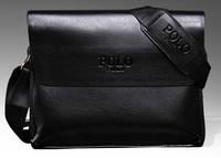 Мужская кожаная сумка messenger (мессенджер) POLO, чёрная поло