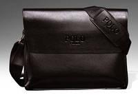 Мужская кожаная сумка messenger (мессенджер) POLO, коричневая поло