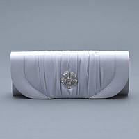 Вечерний клатч 1012 из сатина серебряного цвета