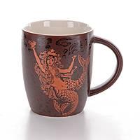 Шоколадная керамическая чашка с золотым принтом Starbucks