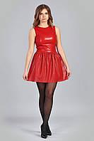 Клубное модное молодежное кожаное платье-сарафан.