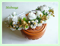 """Обруч """"Белые розы"""" ручная работа"""