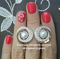 Серебряные серьги с накладками золота и жемчугом